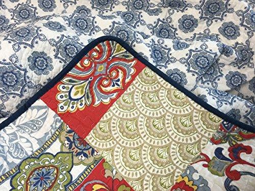 Cozy Line Home Fashions Samantha Patchwork Quilt Bedding Set Red Navy Blue Gold Flower Print Pattern100 Cotton Reversible Coverlet Bedspread For WomenRedNavy King 3 Piece 0 2