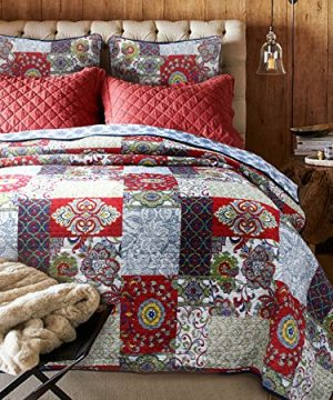 Cozy Line Home Fashions Samantha Patchwork Quilt Bedding Set Red Navy Blue Gold Flower Print Pattern100 Cotton Reversible Coverlet Bedspread For WomenRedNavy King 3 Piece 0 300x360