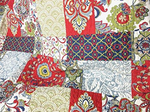 Cozy Line Home Fashions Samantha Patchwork Quilt Bedding Set Red Navy Blue Gold Flower Print Pattern100 Cotton Reversible Coverlet Bedspread For WomenRedNavy King 3 Piece 0 4