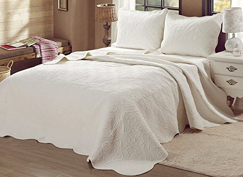 Cozy Line Home Fashions Victorian Medallion Solid Ivory Matelasse Embossed 100 Cotton Bedding Quilt SetCoverletfor BedroomGuest Room Blantyre Ivory Queen 3 Piece 0