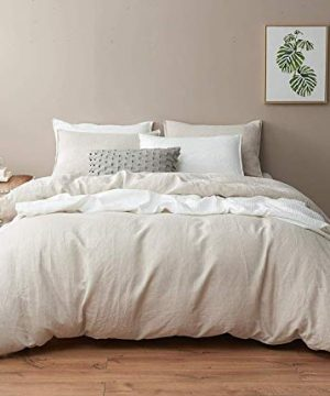 DAPU Pure Linen Duvet Cover Stone Washed European FlaxKing Natural Linen Duvet Cover And 2 Pillowcases 0 300x360