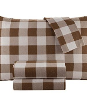 DELANNA Flannel Sheet Set 100 Cotton Queen Buffalo Check Brown 0 300x360