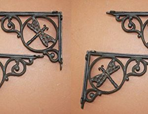 DIY Farmhouse Kitchen Open Shelving Wall Shelf Brackets Dragonfly Design Cast Iron 8 78 Set Of 4 0 300x230