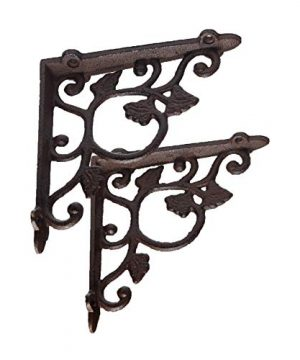 DRDM 2 Pack Ornate Cast Iron Farmhouse Leaf And Vine Antique Style BrownBlack Shelf Bracket Plant Hanger Perfect For Shelves Around The House 15 Inch X 75 Inch X 75 Inch CI181 0 300x360