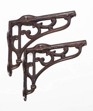DRDM 2 Pack Ornate Cast Iron Rustic Farmhouse Country Victorian Antique Style BrownBlack Shelf Bracket Plant Hanger Perfect For Shelves Around The House 375 Inch X 325 Inch X 1 Inch CI183 0 300x360