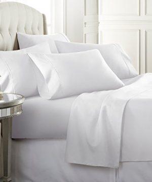Danjor Linens 6 Piece Hotel Luxury Soft 1800 Series Premium Bed Sheets Set Deep Pockets Hypoallergenic Wrinkle Fade Resistant Bedding SetQueen White 0 0 300x360