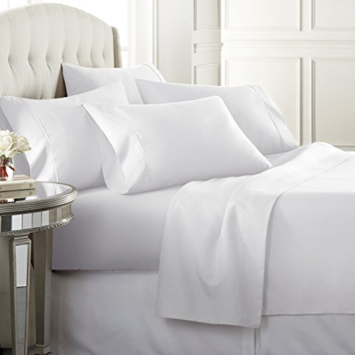 Danjor Linens 6 Piece Hotel Luxury Soft 1800 Series Premium Bed Sheets Set Deep Pockets Hypoallergenic Wrinkle Fade Resistant Bedding SetQueen White 0 0
