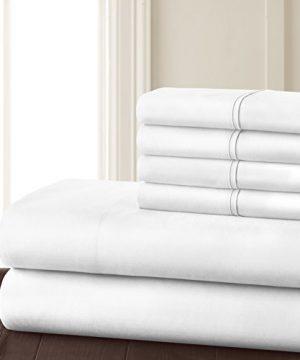 Danjor Linens 6 Piece Hotel Luxury Soft 1800 Series Premium Bed Sheets Set Deep Pockets Hypoallergenic Wrinkle Fade Resistant Bedding SetQueen White 0 1 300x360
