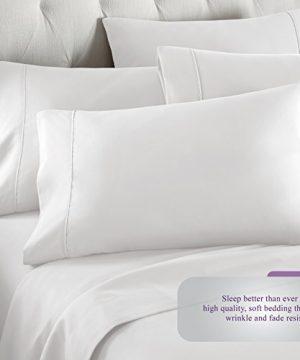 Danjor Linens 6 Piece Hotel Luxury Soft 1800 Series Premium Bed Sheets Set Deep Pockets Hypoallergenic Wrinkle Fade Resistant Bedding SetQueen White 0 2 300x360