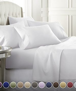 Danjor Linens 6 Piece Hotel Luxury Soft 1800 Series Premium Bed Sheets Set Deep Pockets Hypoallergenic Wrinkle Fade Resistant Bedding SetQueen White 0 300x360