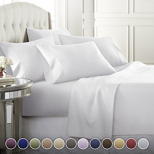 Danjor Linens 6 Piece Hotel Luxury Soft 1800 Series Premium Bed Sheets Set Deep Pockets Hypoallergenic Wrinkle Fade Resistant Bedding SetQueen White 0