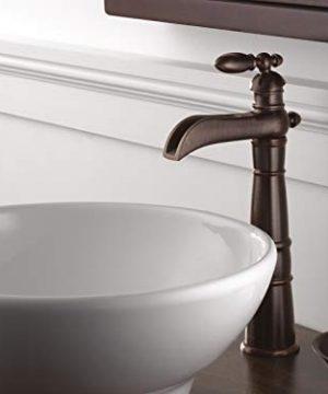 Delta Faucet Victorian Single Handle Waterfall Vessel Bathroom Faucet For Vessel Sinks Venetian Bronze 754LF RB 0 3 300x360
