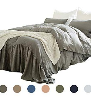 Dobeans Gray Farmhouse Duvet Cover King Light Grey Washed Cotton Duvet Cover Set Solid Color Mermaid Tail Fringe Ruffle Soft Bedding Set Vintage Farmhouse 1 Duvet Cover2 PillowcaseKing 0 300x333