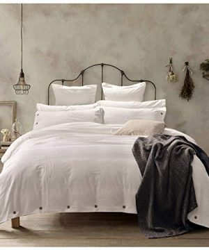 Doffapd Duvet Cover King Washed Cotton Duvet Cover Set 3 Piece King Off White 0 300x360