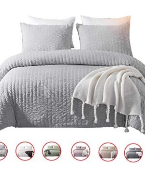 DuShow Solid King Duvet Cover Set Gray Washed Cotton Bedding Set 3 Pieces Seersucker Zipper Comforter Cover Set Hotel Quality 0 300x360