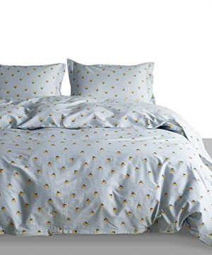 Duvet Cover Comforter Cover 3 Piece Bedding Duvet Cover 100 Washed Cotton Comforter Cover And 2 Pillow Sham SetUltra Soft And Easy Care Bedding Set Light GreenCherry King104X 90 0 300x360