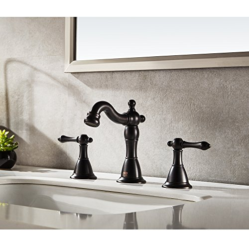 ENZO RODI Bathroom Faucet Classical Style Two Handle Widespread Bathroom Sink Faucet With Lift Pop Up Drain Assembly Oil Rubbed Bronze Certified By UPCAB 1953 Lead Free NSF Standrard ERF2311344H 0 0