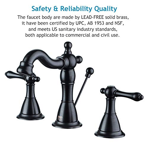 ENZO RODI Bathroom Faucet Classical Style Two Handle Widespread Bathroom Sink Faucet With Lift Pop Up Drain Assembly Oil Rubbed Bronze Certified By UPCAB 1953 Lead Free NSF Standrard ERF2311344H 0 1