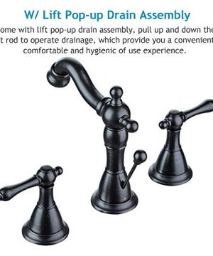 ENZO RODI Bathroom Faucet Classical Style Two Handle Widespread Bathroom Sink Faucet With Lift Pop Up Drain Assembly Oil Rubbed Bronze Certified By UPCAB 1953 Lead Free NSF Standrard ERF2311344H 0 2 300x360