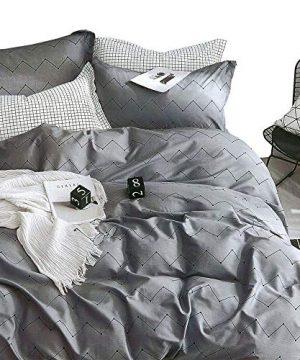 ESSINA FullQueen Duvet Cover Set 3pc Kensington Collection 100 Cotton 620 Thread Count Reversible Duvet Cover Pillow Sham Pewter 0 300x360