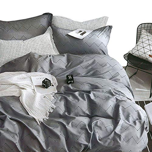 ESSINA FullQueen Duvet Cover Set 3pc Kensington Collection 100 Cotton 620 Thread Count Reversible Duvet Cover Pillow Sham Pewter 0