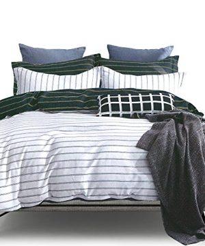 ESSINA FullQueen Duvet Cover Set 3pc Valencia Collection Cotton 620 Thread Count Reversible Duvet Cover Pillow Sham Niagara 0 300x360
