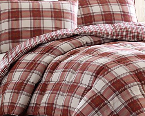 Eddie Bauer Edgewood Plaid Down Alternative Reversible Comforter Set King Red 0 2