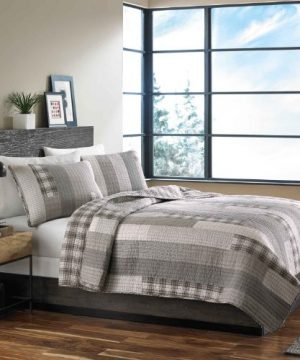 Eddie Bauer Fairview 3 Piece Cotton Reversible Quilt Set King Gray 0 300x360