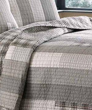 Eddie Bauer Fairview 3 Piece Cotton Reversible Quilt Set King Gray 0 4 300x360