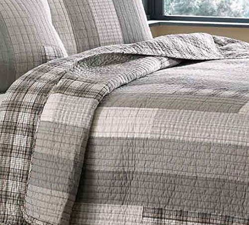 Eddie Bauer Fairview 3 Piece Cotton Reversible Quilt Set King Gray 0 4