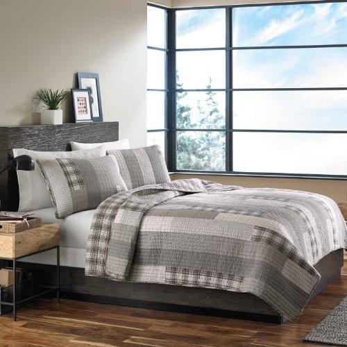 Eddie Bauer Fairview 3 Piece Cotton Reversible Quilt Set King Gray 0