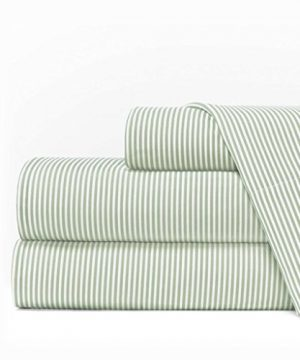 Egyptian Luxury 1600 Series Hotel Collection Pinstripe Pattern Bed Sheet Set Deep Pockets Wrinkle And Fade Resistant Hypoallergenic Sheet And Pillowcase Set King SageWhite 0 300x360