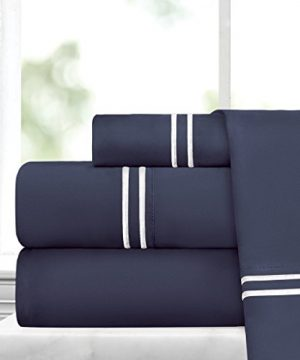 Egyptian Luxury Embroidered Bed Sheet Set Ultra Soft Premium 1500 Series W Beautiful Stripe Embroidery Wrinkle Fade Resistant Hypoallergenic 4 Piece Set King NavyWhite 0 300x360