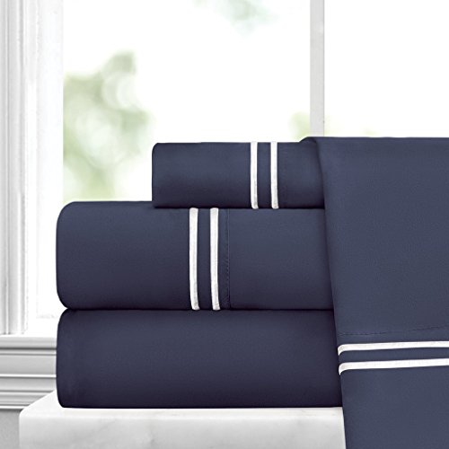 Egyptian Luxury Embroidered Bed Sheet Set Ultra Soft Premium 1500 Series W Beautiful Stripe Embroidery Wrinkle Fade Resistant Hypoallergenic 4 Piece Set King NavyWhite 0