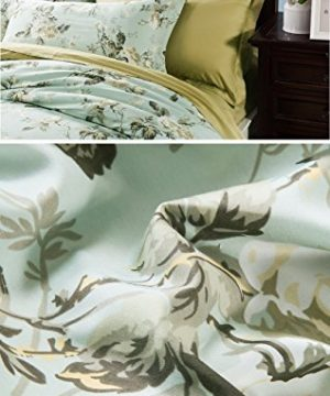 Eikei Home French Country Garden Toile Floral Printed Duvet Quilt Cover Cotton Bedding Set Asian Style Tapestry Pattern Chinoiserie Peony Blossom Tree Branches Multicolored Design Queen Light Blue 0 0 300x360
