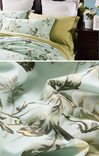 Eikei Home French Country Garden Toile Floral Printed Duvet Quilt Cover Cotton Bedding Set Asian Style Tapestry Pattern Chinoiserie Peony Blossom Tree Branches Multicolored Design Queen Light Blue 0 0