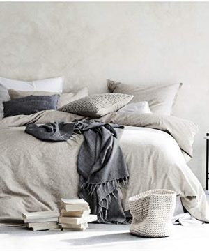 Eikei Washed Cotton Chambray Duvet Cover Solid Color Casual Modern Style Bedding Set Relaxed Soft Feel Natural Wrinkled Look King Neutral 0 300x360