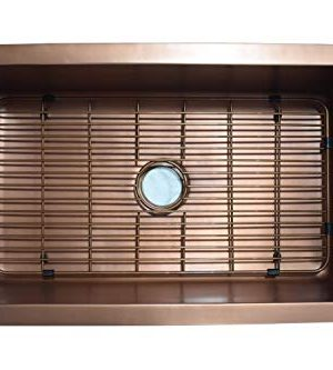 Empire Industries VE30S Versailles Farmhouse Copper Kitchen Sink With Grid And Strainer 30 0 0 300x333