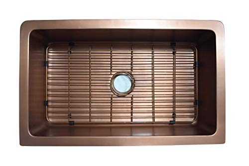 Empire Industries VE30S Versailles Farmhouse Copper Kitchen Sink With Grid And Strainer 30 0 0
