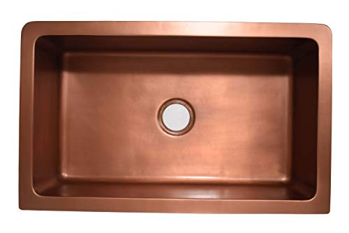 Empire Industries VE30S Versailles Farmhouse Copper Kitchen Sink With Grid And Strainer 30 0 2