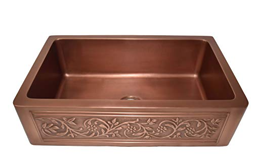 Empire Industries VE30S Versailles Farmhouse Copper Kitchen Sink With Grid And Strainer 30 0