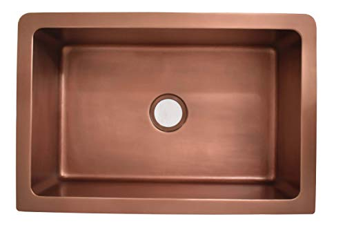 Empire Industries VE33S Versailles Farmhouse Copper Kitchen Sink With Grid And Strainer 33 0 2