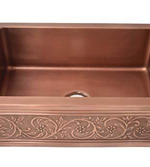 Empire Industries VE33S Versailles Farmhouse Copper Kitchen Sink With Grid And Strainer 33 0 300x333