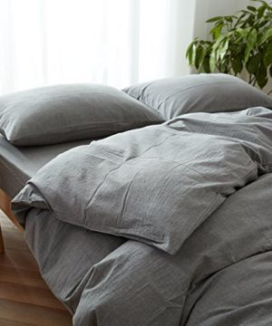 FACE TWO FACE 3 Piece Duvet Cover Queen100 Washed Cotton Duvet CoverUltra Soft And Easy CareSimple Style Bedding Set QueenGray 0 0 300x360