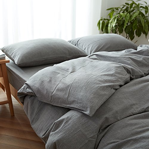 FACE TWO FACE 3 Piece Duvet Cover Queen100 Washed Cotton Duvet CoverUltra Soft And Easy CareSimple Style Bedding Set QueenGray 0 0