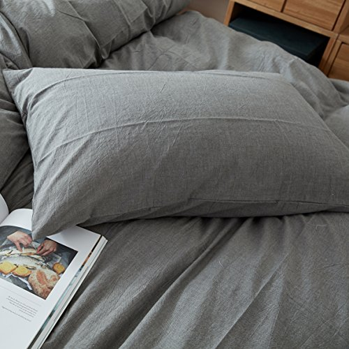 FACE TWO FACE 3 Piece Duvet Cover Queen100 Washed Cotton Duvet CoverUltra Soft And Easy CareSimple Style Bedding Set QueenGray 0 1