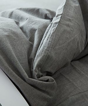 FACE TWO FACE 3 Piece Duvet Cover Queen100 Washed Cotton Duvet CoverUltra Soft And Easy CareSimple Style Bedding Set QueenGray 0 2 300x360
