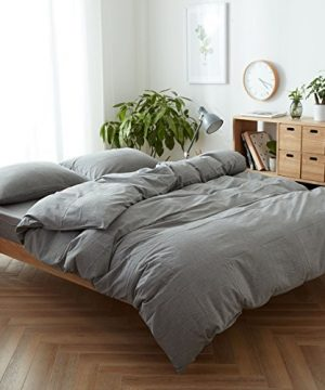 FACE TWO FACE 3 Piece Duvet Cover Queen100 Washed Cotton Duvet CoverUltra Soft And Easy CareSimple Style Bedding Set QueenGray 0 300x360