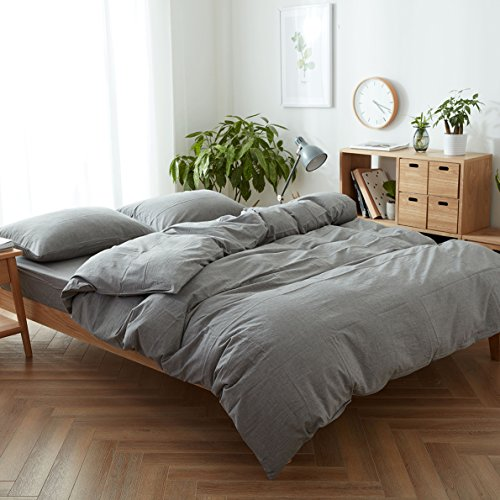FACE TWO FACE 3 Piece Duvet Cover Queen100 Washed Cotton Duvet CoverUltra Soft And Easy CareSimple Style Bedding Set QueenGray 0