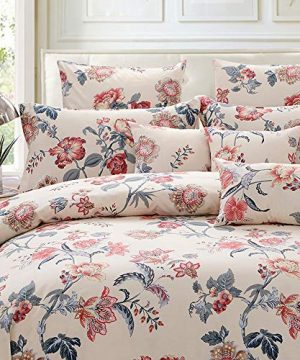 FADFAY Duvet Cover Set Farmhouse Bedding Vintage Peony Shabby Floral Bedding 100 Cotton Super Soft Hypoallergenic Yellow And Gray Bedding With Hidden Zipper Closure 3 Pieces KingCal King Size 0 300x360